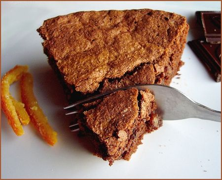 Gateau chocolat:orange confite