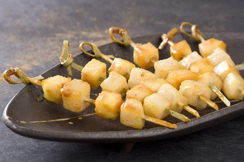 Brochette poires caramel