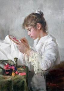 Brodeuse en blouse blanche gif