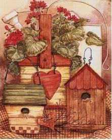 Nichoir et fleurs rouges gif