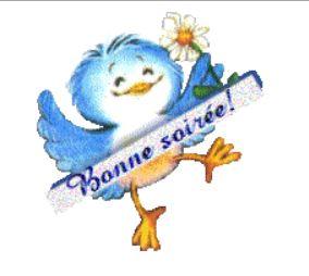 Bonne soirée oiseau bleu gif