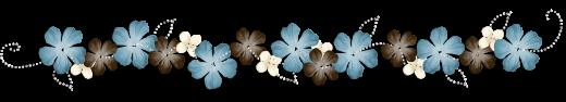 Barre séparation fleurs bleu-gris