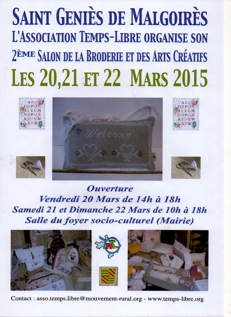 affiche salon broderie  St Julien de Malgoyre 20 mars 2015