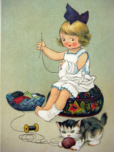 Petite brodeuse au chat