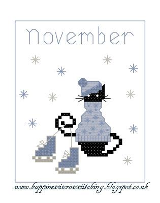 November Mini Cat  Cross Stitch pattern