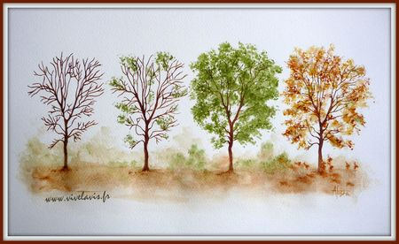 4 saisons aquarelle