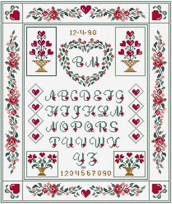 DMC Traditional sampler St Valentin