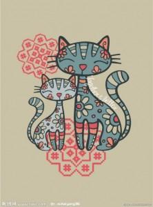 Chats bleus et roses gif