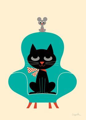 Chat sur fauteuil et souris gif