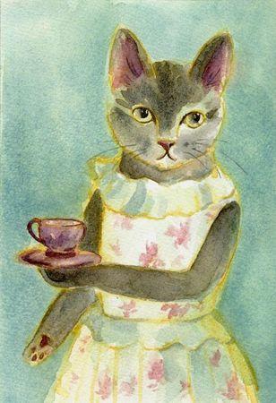 Chatte tasse à thé gif
