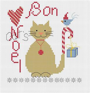 Chat bon noel grille