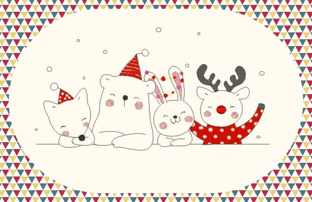 Broderie Amis animaux Noël
