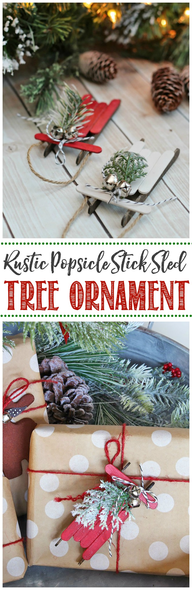 These rustic popsicle stick sleds are so pretty. They're an easy DIY Christmas tree ornament that and are so much fun to make!