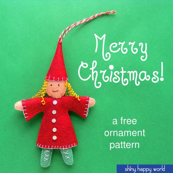 Free Elf Christmas Ornament Pattern from Shiny Happy World