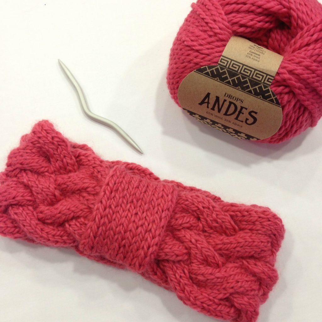 bandeau tricot atelier de la creation en drops andes