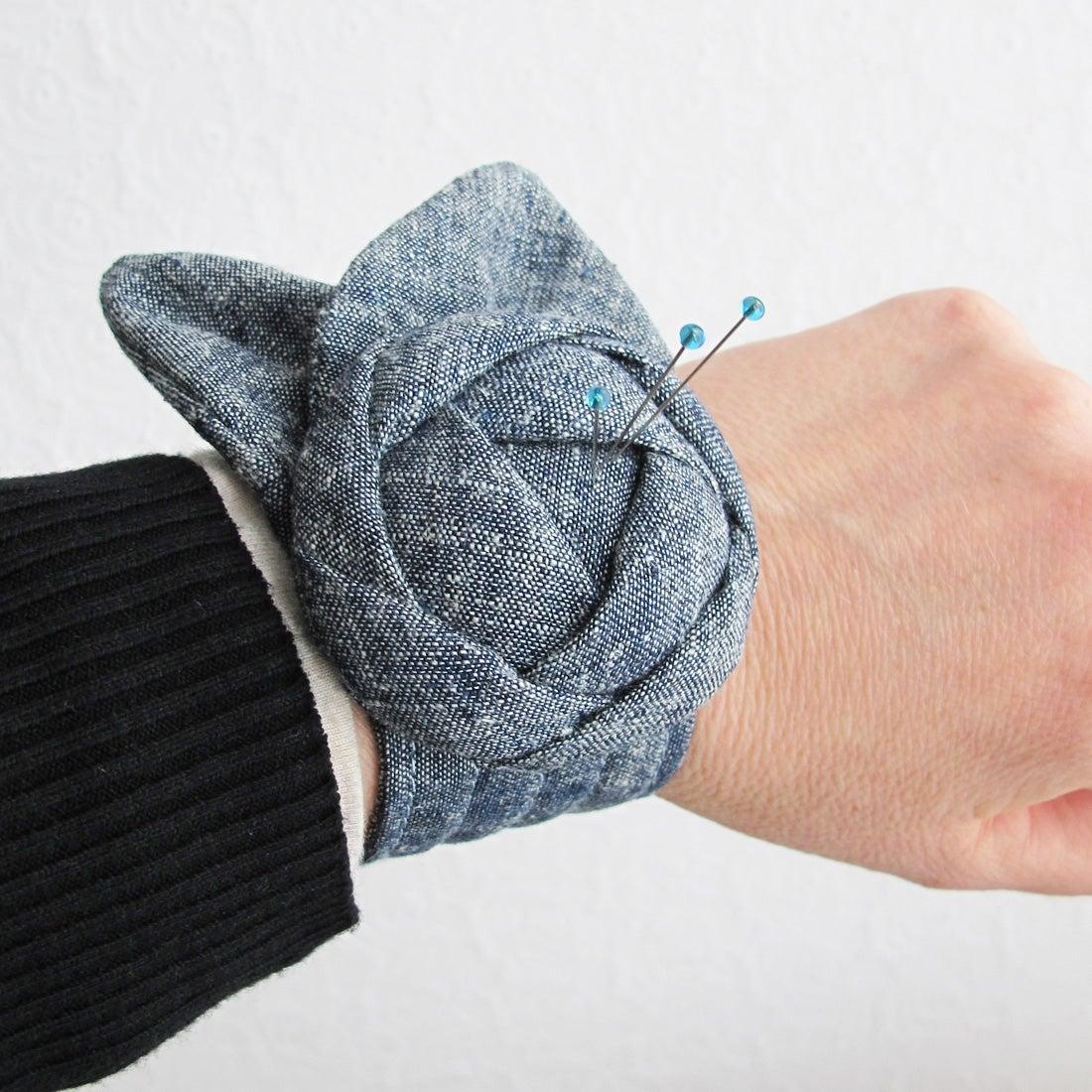Image of Rose Pincushion Cuff PDF Sewing Pattern